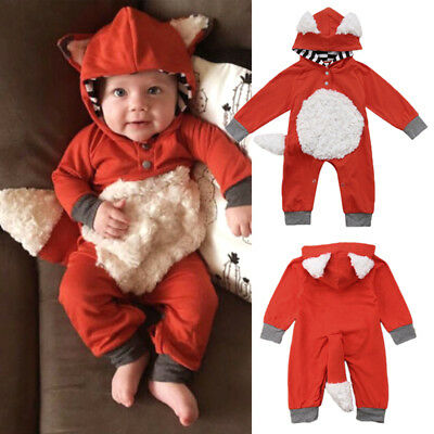 Cute Newborn Baby Girl Boy Fur 3D Fox Hooded Romper Jumpsuit Outfits Clothes USA