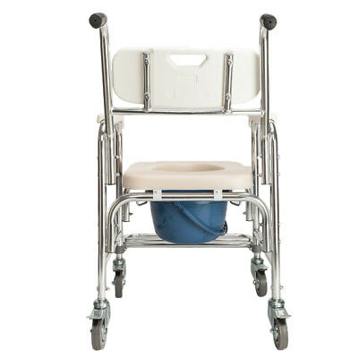 Tansport Shower Commode Wheelchair Bedside Commode Toilet Chair with Seat Patch