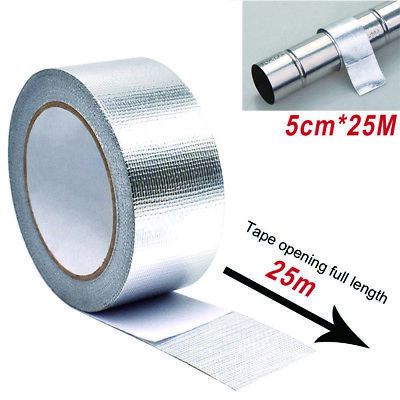 1 Roll Exhaust Heat Wrap Manifold Downpipe High Temp Bandage Tape Silver 25M*5cm