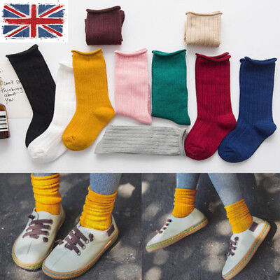 UK Kids Baby Girls Boys Toddler Cotton Knee Warm High Socks Solid Long Stocking