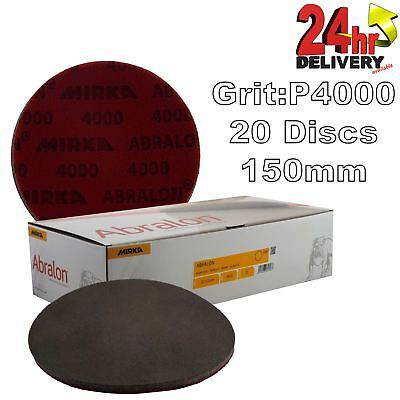 "Mirka Abralon 150mm 6"" P4000 Grit 20x HookNLoop Foam Fine Finishing Discs Pad"