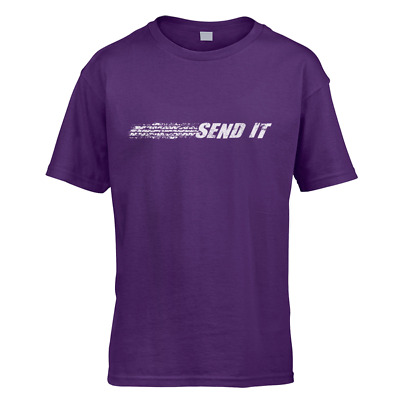 Send It Kids T-Shirt -x10 Colours- Gift Present Race Burnout Drift Drag Slam
