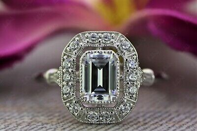 1.1 Ct Emerald Wire Shank Vintage Art Deco Engagement Ring 925 Sterling Silver