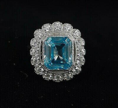 3.1 Ct Vintage Antique Art Deco Aquamarine Engagement Ring 925 Sterling Silver