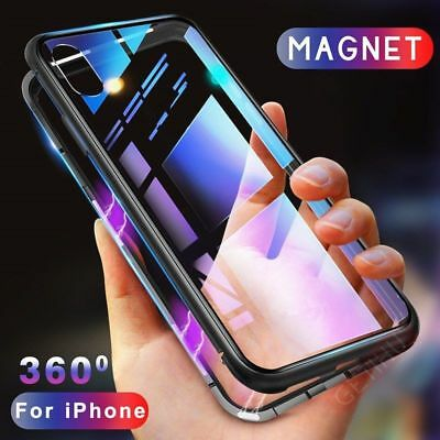Magnetic Absorption Metal Case For iPhone X 7 8 Plus Luxury Tempered Glass Cover