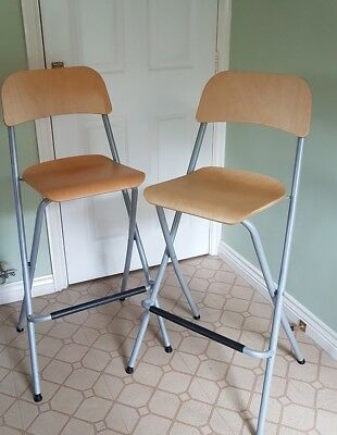 Pair Of IKEA Franklin FOLDING BAR STOOL CHAIRS With Backrest