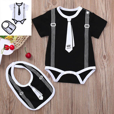 2PCS Newborn Baby Infant Boys Carton Sling Necktie Bodysuit Romper+ Bibs Outfits