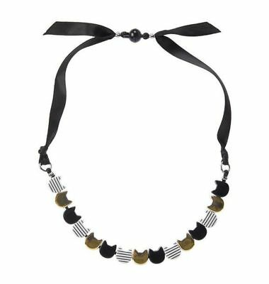 New Gymboree Girls City Kitty Gold Black White Cat Face Necklace One Size NWT