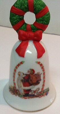 Avon Christmas Bell 1995 Porcelain Santa and Christmas List