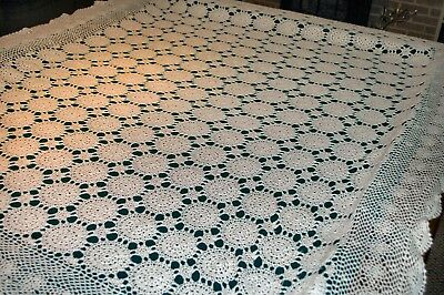"Beautiful Vintage Crocheted Tablecloth, 85"" X 65"""