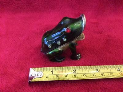 Frog With Open Mouth Enameled  Hinged Trinket Jewelry Box