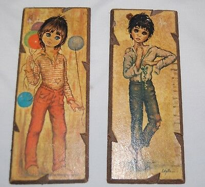 Vintage Mid Century Art Print Lot 2 Lolylle 10 x 4 Young Girl Wood Board Jeans