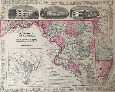 HAND COLORED MAP of Delaware-Maryland & District of Columbia ...