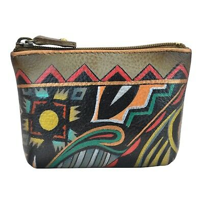 "Anuschka #1031 AAZ ""ANTIQUE AZTEC"" Coin Purse 4""x2.75"" New With Tags"