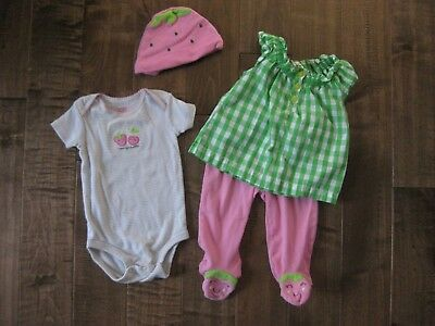 """Adorable """"Mommy's Sweetie"""" 4 Piece Baby Girl Outfit Set by Carter's / 6mo / EUC"""