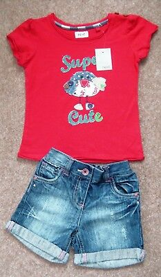 Bnwt Girls Next T-Shirt Top & Denim Shorts 2-3 Yrs Bird Red Christmas Party Jean