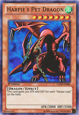2x  Heavily Played Harpie's Pet Dragon - LCJW-EN086 - Ultra Rare - 1st Edition Y