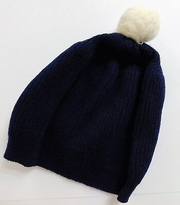 Traditional childrens bobble hat navy blue boys girls toddlers hat vintage 1980s