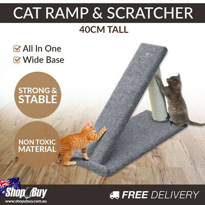 40cm Tall All-in-One Cat Ramp and Scratcher Strong Portable Soft Carpet Fabric