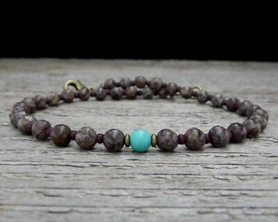 Unisex Brown Jasper and Turquoise Anklet with Solid Brass Clasp, Sm - XL