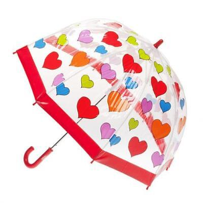 Clifton Brand Childrens/kids Transparent Pvc Umbrella With Multi Coloured Hearts