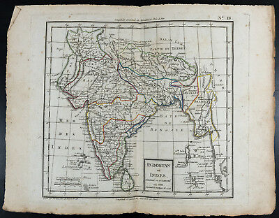 Map geographical antique (1810) : Indostan or Indes (1799). Per Tardieu