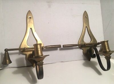 2 Vintage Decorative Crafts Inc Brass Candle Snuffer / Sconce Wall Mount
