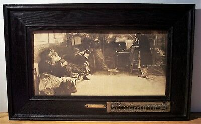 vintage Mission wide oak Arts Crafts frame And Can brass plate sepia print 21x13
