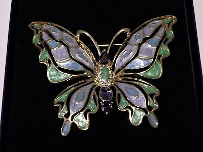 Nib Vtg Bob Mackie Enamel U0026 Crystal Butterfly Pin Brooch Green Purple  Goldtone