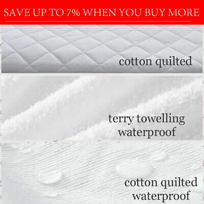 Fully Fitted Mattress Protector Pillow Topper Waterproof Cotton Bamboo Quilted