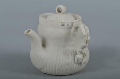 R1022: Japanese Banko-ware Unglazed earthenware Bamboo Poetry sculpture TEAPOT