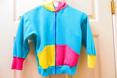 GYMBOREE VINTAGE 1990's childs size L HOODIE SWEATSHIRT zipper aqua pink yellow
