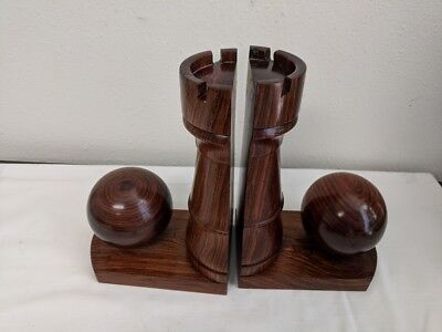 Vintage Pair Of Wooden Bookends Featuring Balls &castle - Rare