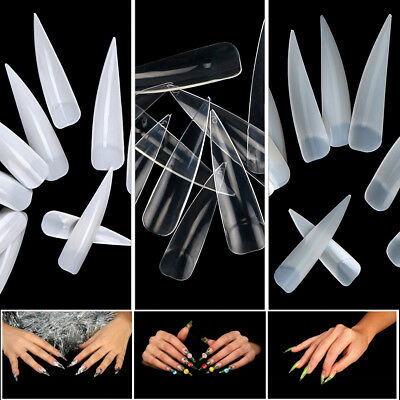 White/Natural/Clear 10pcs/100pcs/500pcs Half Nail Tips Long Stiletto Pointy Tips