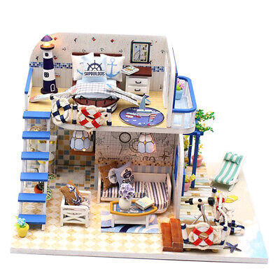 DIY Miniature Dollhouse Coast Attic Apartment Model Toy Gift With LED Light