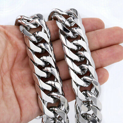 MENDINO 22mm Heavy Rhombus Curb Chain Stainless Steel Necklace Men 18-30 inches