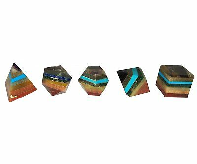 Healing Crystal Reiki 5 Pieces, 7-chakra Quartz Platonic Solids Sacred Geometry.
