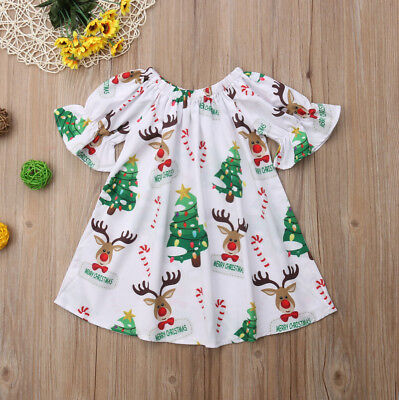 Cute Newborn Infant Baby Girls Christmas Deer Print Dress Party Dress Clothes US