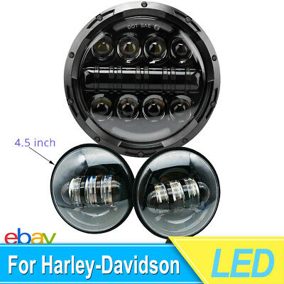"""Set 7"""" Led Projector Daymaker Headlight & 2X Passing Lights For Harley Road King"""