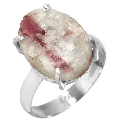 Pink Tourmaline In Quartz Ring Solid 925 Sterling Silver Jewelry Size S xs87919