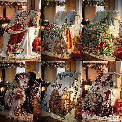 Father Christmas Tree Snowman Stag Super Soft Bed Sofa Fleece Blanket Throws