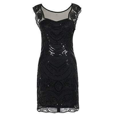 Women's Vintage 1920s O Neck Sequin Beaded Tank Cocktail Art Deco Flapper Dress