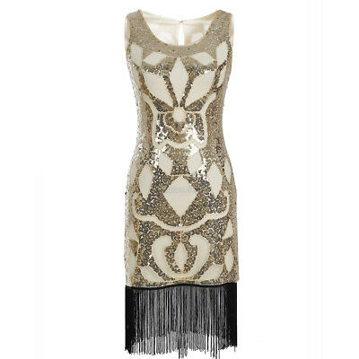 Women's 1920s Vintage Gatsby Sequin Beaded Tassels Hem Flapper Dress