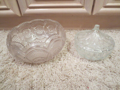 Vintage Collectible Antique Clear Bowls -- One With Lid -- Beautiful