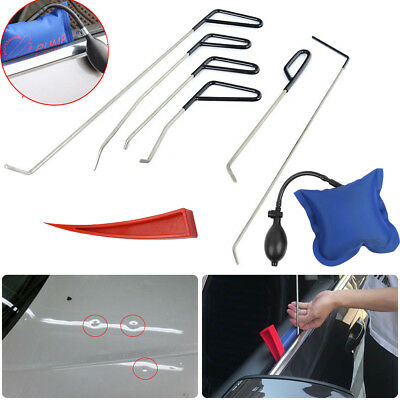 6x PDR Push Rods Whale Tail  Tool Dent Repair Tool &  Air Pump Wedge For windows