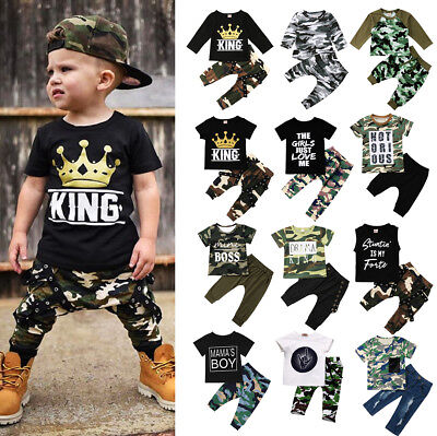 USA Fashion Kids Baby Boys Camo & Denim Outfit Tops T-shirt Pants Clothes Set