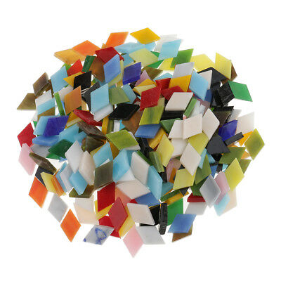 300x Assorted Color Rhombus Shape Glass Mosaic Tiles for Art DIY Crafts 12mm