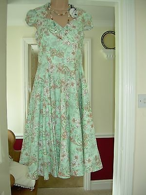 5f88c93f4f8c super green mix floral HELL BUNNY VIXEN vintage rockabilly circle dress nwt  XS