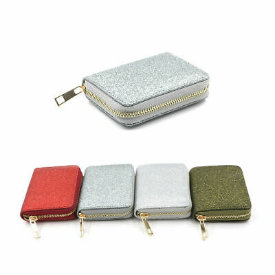 Women Ladies Girls Small Zip Coin Purse Glitter Shinny Silver Gold Mini Wallet