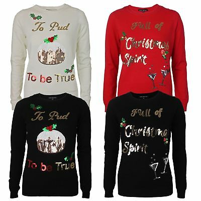 Womens Ladies Girls Funny Christmas Novelty Jumper Xmas Sweater Top New